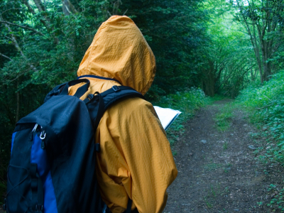 Hiker in the rain, Copyright Auke Holwerde, used by permission, iStockPhoto